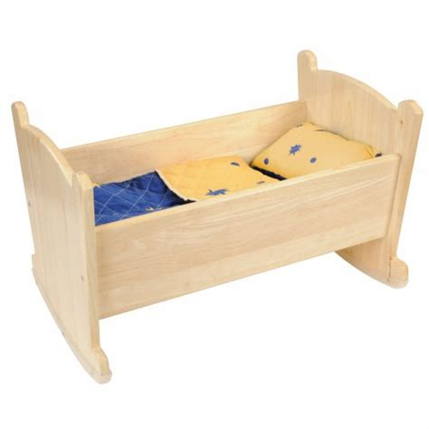 wooden doll bed wooden doll cradle with bedding