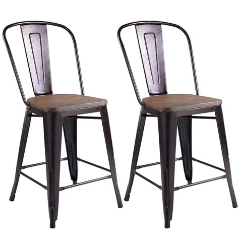 Metal Bar Stools Steel Counter Stools Kitchen Dining Chairs | new copper metal wood counter stool kitchen dining bar