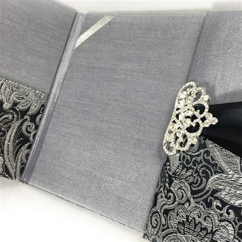 wedding invitations and black black metallic silver brocade wedding invitation pocket