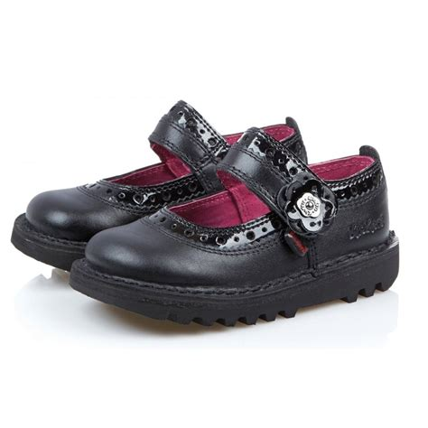 Kickers Pantofel 02 Leather Black kickers kick brogbar infant black leather school shoe babies from jelly egg uk