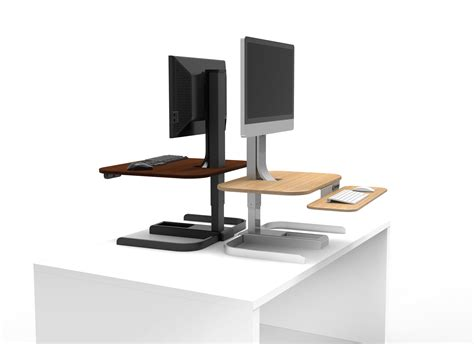 convert desk into standing desk convert your tired into a powered standing desk for 400