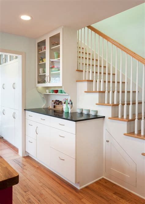 Inter Stairs And Kitchen Design Zilker Kitchen Transitional Staircase By Merzbau Design Collective