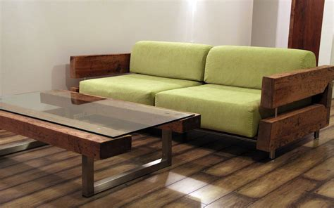reclaimed wood couch and coffee table by ticino design www
