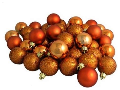 burnt orange shatterproof 4 finish christmas ball