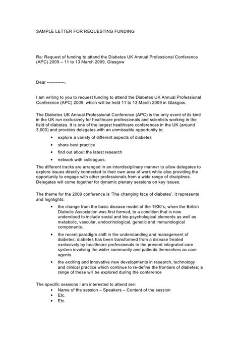 Cover Letter Travel Conference Grant Sle Sle Funding Request Letter