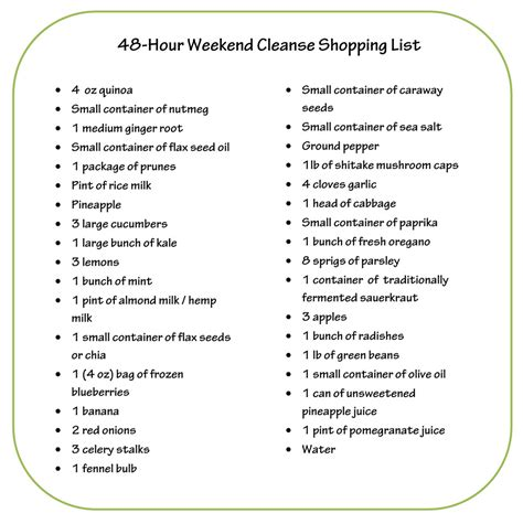 10 Day Diet Detox Shopping List by Fitnesscop Dr Oz S 48 Hour Weekend Cleanse Doctoroz