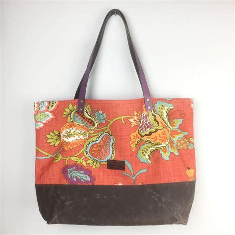 orange floral tote bag market bag waxed canvas travel bag