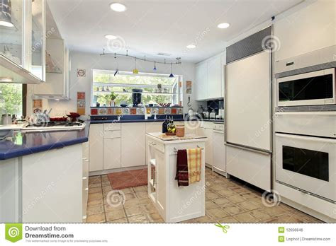 Kitchen With Blue Countertops by Kitchen With Blue Countertops Royalty Free Stock Image