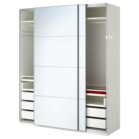Armoire Pax by Pax Wardrobe White Auli Mirror Glass 200x66x236 Cm