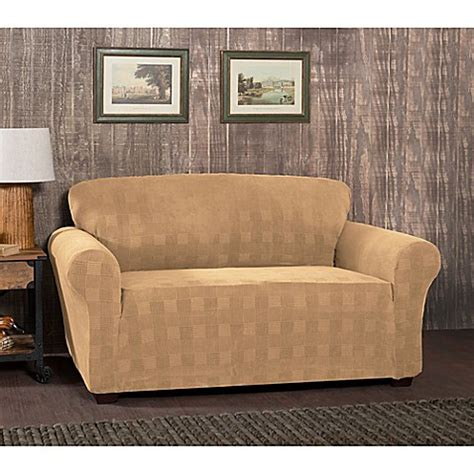 plaid slipcover stretch plaid loveseat slipcover bed bath beyond