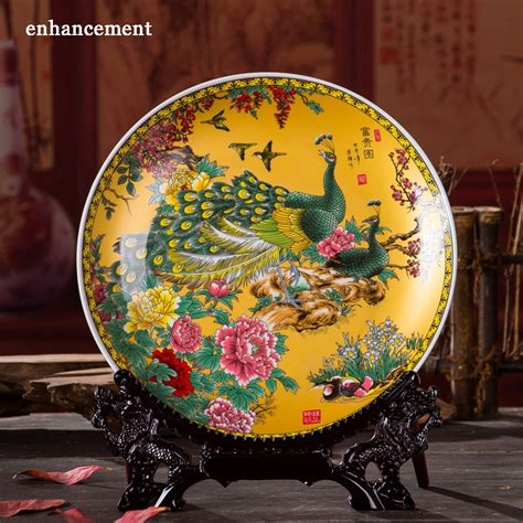 royal chinese style home decor ceramic ornamental plate