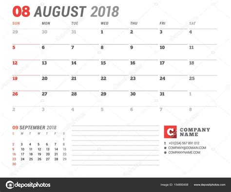 calendar 2018 year vector design stationery stock vector calendar template for 2018 year august business planner
