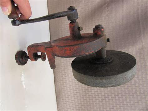 hand powered bench grinder lot detail working vintage clamp on hand crank bench grinder