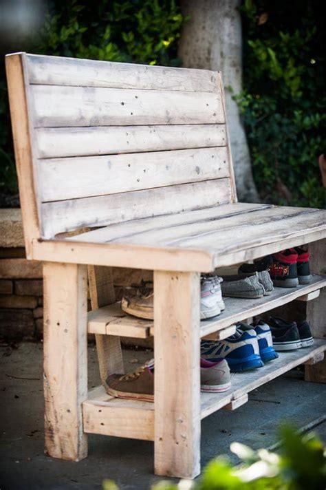 pallet shoe bench diy repurposed pallet shoe rack bench 101 pallets