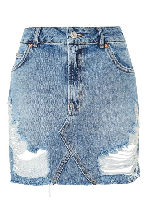 Ripped Denim Mini Skirt moto rip denim mini skirt skirts clothing topshop