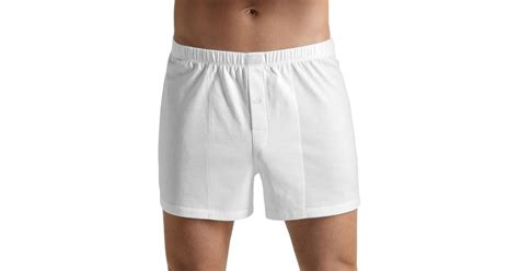 knit boxers hanro knit boxers in white for lyst