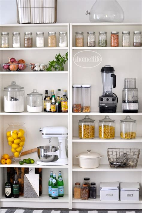 Above Kitchen Cabinet Decorating Ideas by Open Pantry Using Bookshelves First Home Love Life