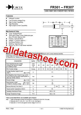 dioda fr302 fr302 datasheet pdf won top electronics
