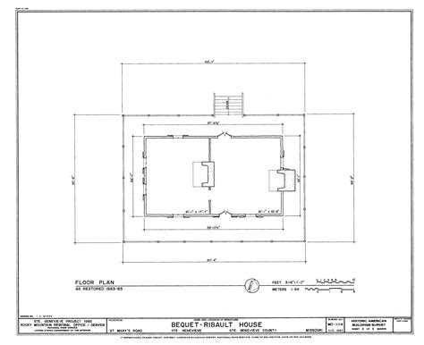 drawing floor plan file drawing of the restored floor plan of the bequet ribault house in ste genevieve mo png