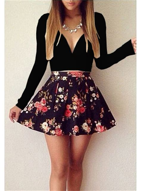 Mini Floral Skirt Black mini skater dress black floral print skirt