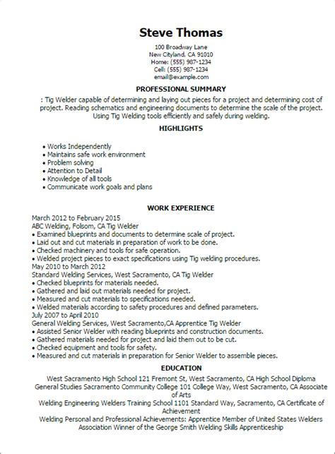 Tig Welder Sle Resume professional tig welder templates to showcase your talent myperfectresume