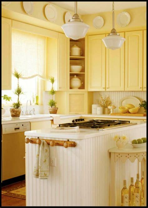 Bright Yellow Kitchen Illuminated With Schoolhouse Light Yellow Kitchen