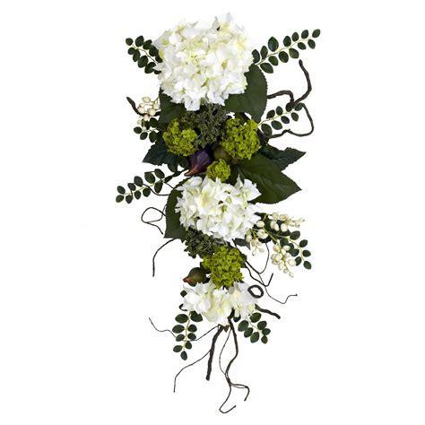 White Hydrangea Tear Drop Swag   Silk Wedding Flowers