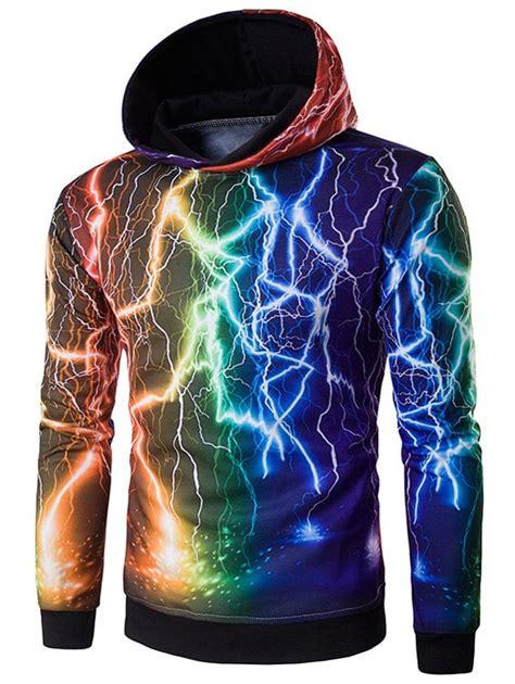 colorful hoodies hoodies black hooded 3d colorful lightning print hoodie