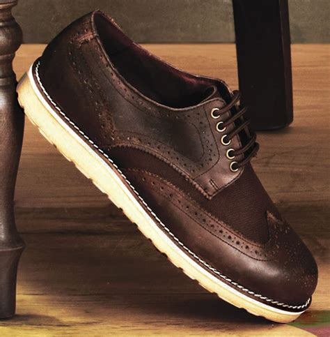 mens brown greasy leather textile brogue lace up casual