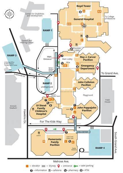 parking  map university  iowa hospitals clinics