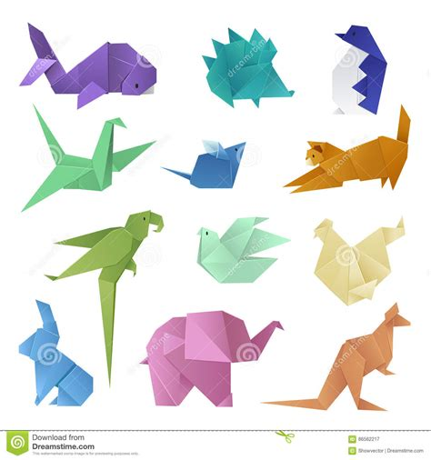 Origami Hobby - origami style of different paper animals geometric