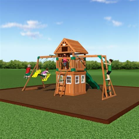 swing set playhouse backyard discovery 54413 castle peak wooden swing set with