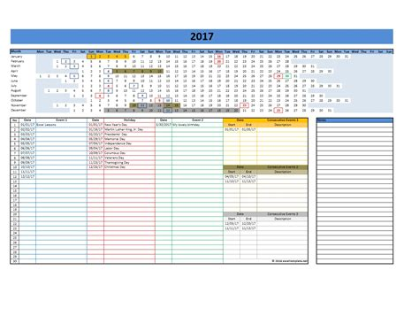 Excel Calendar 2017 Template 2017 And 2018 Calendars Excel Templates