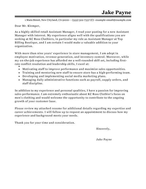 Assistant Manager Retail Cover Letter by Assistant Manager Cover Letter Exles Retail Cover Letter Exles Livecareer