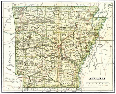 us map arkansas state detailed administrative map of arkansas state 1892