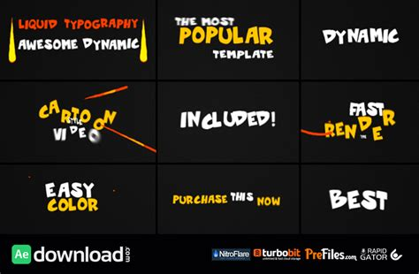 Videohive Dynamic Liquid Typography Free Download Free After Effects Template Videohive Free After Effects Typography Templates