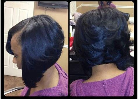 black short bob and feathered out layered and feathered bob black beautiful hair
