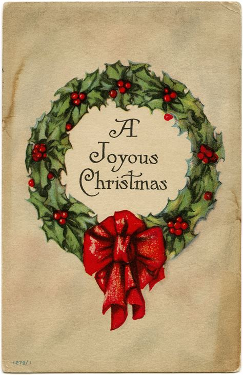 Holly and Berries Wreath ~ Free Vintage Graphic   Old