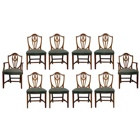 shield back dining room chairs set of 10 sheraton style shield back dining chairs at 1stdibs