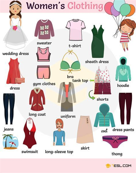 Women?s Clothing Names with Printable Pictures   7 E S L