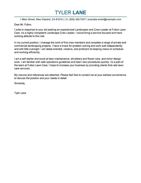 Best Landscaping Cover Letter Examples   LiveCareer