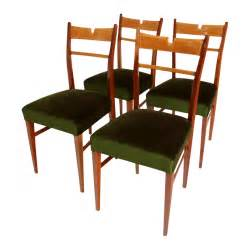 Green Velvet Dining Chairs Italian Wood Green Velvet Dining Chairs 1950s Set Of 4 For Sale At Pamono