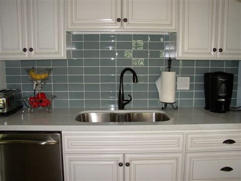 glass subway tile backsplash kitchen contemporary with glass tile backsplashes by subwaytileoutlet modern