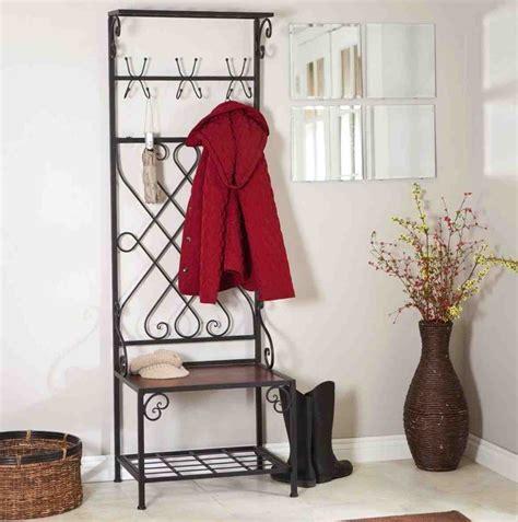 metal entryway storage bench  coat rack home