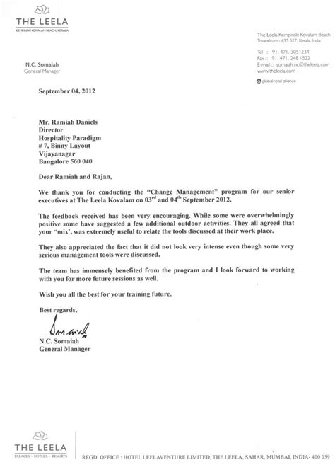 change of management letter template hospitality paradigm programs the leela kovalam