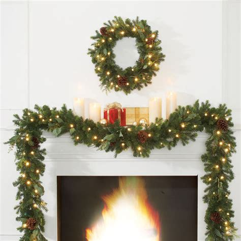 24 quot cordless pre lit noble fir wreath at brookstone buy now
