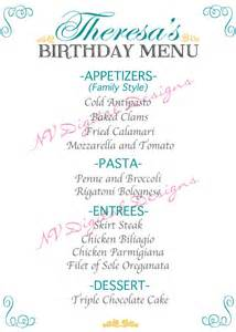 25 birthday menu templates free sle exle format
