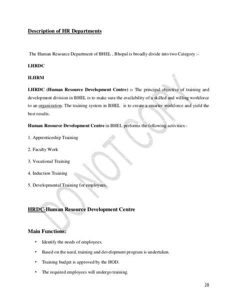 Mba Hrm Internship Report by Maaz Arif Mba Ib Bhel Internship Report
