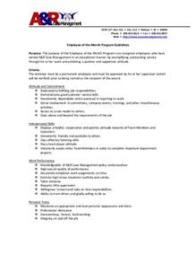 Employee Of The Month Criteria Template employee of the month program guidelines