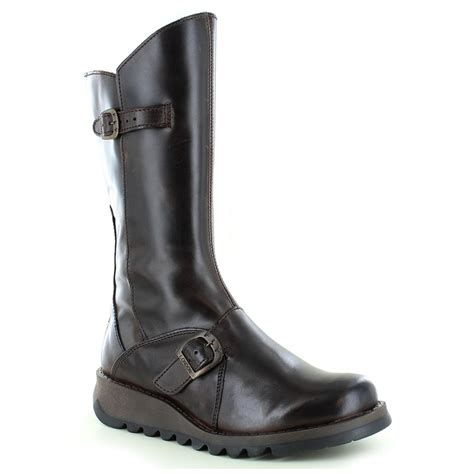 fly mes 2 womens leather mid calf wedge boots